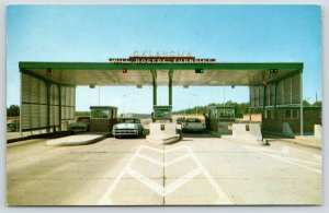 Miami Oklahoma~Will Rogers Turnpike~East Toll Gate Workers~1950s Cars~Postcard