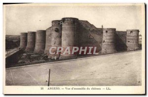Old Postcard Angers View D & # 39Ensemble Du Chateau