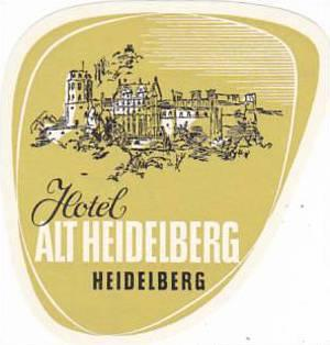 GERMANY HEIDELBERG HOTEL ALT HEIDELBERG VINTAGE LUGGAGE LABEL