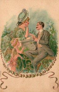Vintage Postcard 1910's Man & Woman in Love Young Girl Angel Watching Embossed