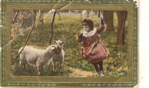 Little girl with  lambs  Tuck All Sorts of Pets Ser.ies  PC # 724