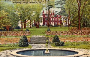 Pennsylvania Meadville Alumni Gardens and Campus Showing Bentley Hall Alleghe...