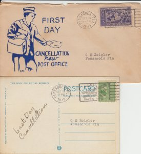 PENSACOLA - FIRST & LAST cancellation for new/old Post Office, 1939 - 2 items