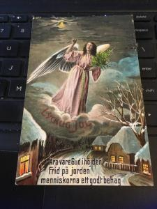 Vintage Postcard; Lycklig Jul, Happy Christmas- Swedish. Angel