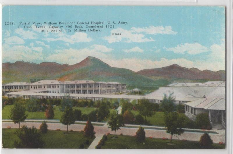 William Beaumont General Hospital U.S. Army El Paso Texas Distant View Postcard