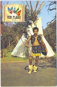 Dallas-Fort Worth TX Indian Village Dancer Performer Six Flags Postcard