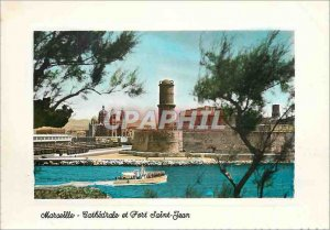 Modern Postcard Marseille The Crossroads of the World Cathedral and Fort St. ...