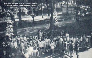 Flag salute, The day starts early at Lake Geneva Youth Camp,  Michigan, 20-30s