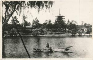 RPPC Temple at Nara, Japan - pm 1949 by US Army
