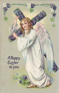 TUCK 112, A Happy Easter to you, Angel carrying cross  made of purple flowers...