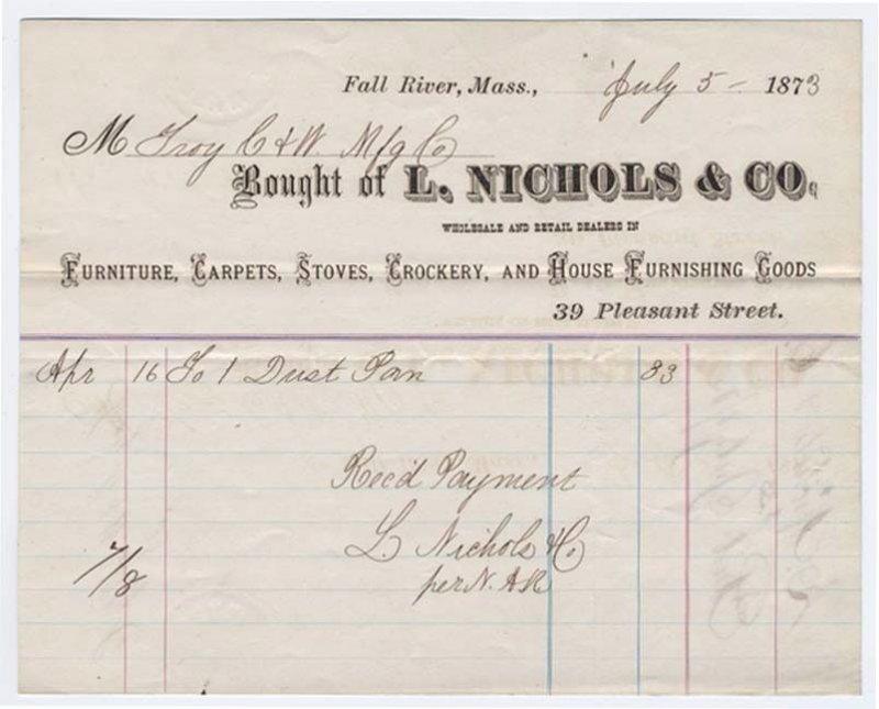 1873-4 Billhead, L. NICHOLS & CO., Furniture, Carpets, Fall River, Massachusetts