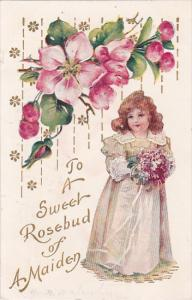 To A Sweet Rosebud of a Maiden, Girl holding bouquet of pink flowers, PU-1908