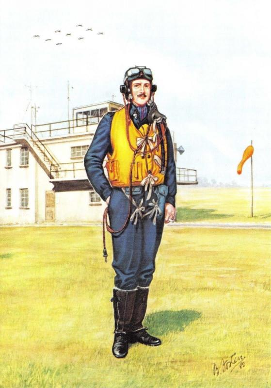 RAF Art Postcard Aircrew Clothing 1918-1988, 1945 The End of World War 2 #12-4