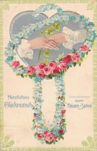 Happy new Year - embossed postcard Herzlichen Glückwunsch zum Neuen Jahre 01.95
