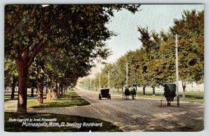 Minneapolis Minnesota~Horse & Buggy-Vintage Car on Ft Snelling Boulevard~c1910