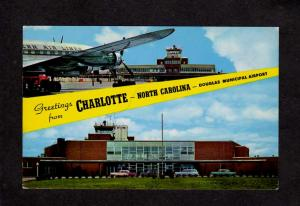 NC Greetings From Charlotte North Carolina Airport Airplanes Douglas Postcard