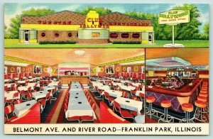 Chicago~Franklin Park IL~Club Hollywood Theatre Restaurant~ART DECO Linen 1948
