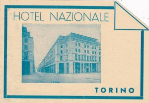 Italy Torino Hotel Nazionale Vintage Luggage Label sk4622