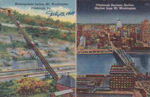 Pennsylvania Pittsburgh Mononhagela Incline & Business Section Skyline Fr...