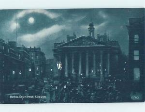Unused Old Postcard ROYAL EXCHANGE Night View Of London England UK F5343