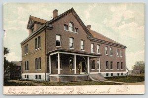 Detroit Michigan~Fort Wayne~Regimental Headquarters~Soldiers on Porch~1909