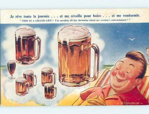 Bamforth comic signed FITZPATRICK - SLEEPING MAN DREAMS OF COLD BEER HL9255