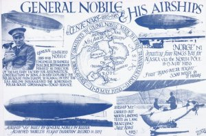 General Nobile & His Airships Flight Map Globe Plane Captain Postcard