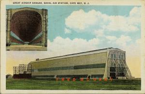 1934 Cape May Naval Air Station New Jersey Postcard: Airship & Hangar Multiview