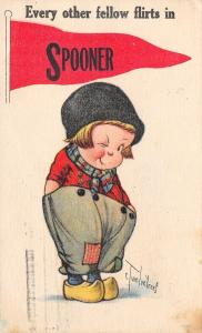 Every Other Fellow Flirts in Spooner WI~Twelvetrees Boy Winks~1918 Pennant PC