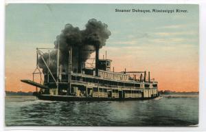 Paddle Steamer Boat Dubuque Mississippi River 1913 postcard
