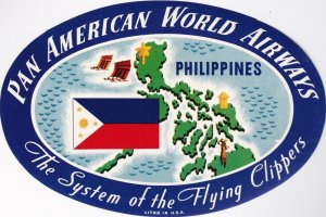 Pan American World Airways To Philippines Vintage Airline Label lbl0125