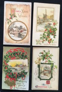 Postcard (4) Christmas Addressed but not mailed Outdoors/Holly LB
