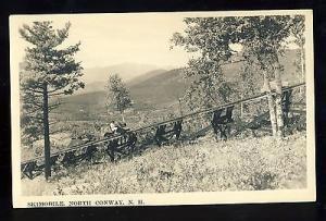North Conway, New Hampshire/NH, B & W Photo Postcard, Skimobile On Track