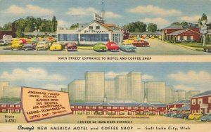 Salt Lake City UT Motel & Coffee Shop Center of Business District Linen Postcard