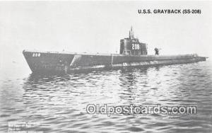 Lost WWII Postcard Post Card USS Grayback SS208