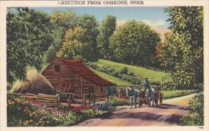 Nebraska Greetings From Oshkosh Rural Scene