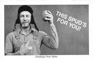 F72/ Idaho Postcard c1950s Comic Spud Power Potato Overalls Man 4