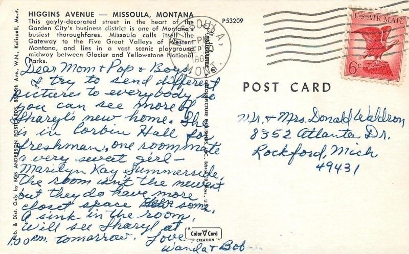 Missoula MT~1290 KGVO Billboard~Sears~Silver Dome~Higgins Avenue~Nice 1960 Cars