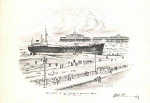 Vintage Art Sketch Postcard, The Wreck of the Athina B, Brighton Beach 1980 92Q