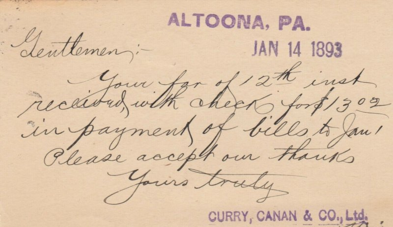 ALTOONA, Pennsylvnia, PU-1893 ; Curry, Canan & Co. Ltd