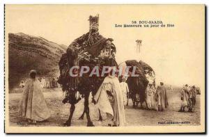 Old Postcard Bou Saada The Bassours a Jour de Fete Camels