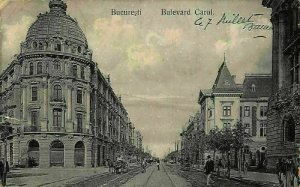 Romania Bucharest Boulevard Carol Promenade Postcard