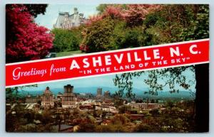 Postcard NC Banner Dual View Greetings From Asheville North Carolina Vintage P4