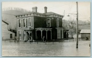 Galena Illinois~Leslie's Victorian House~Man in Water to Knees~1933 Flood~RPPC