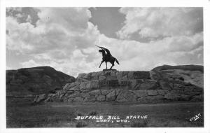 Buffalo Bill Statue 1920s CODY WYOMING RPPC real photo postcard 4838