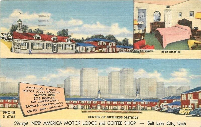 Salt Lake City UT Covey's New America Lodge on Main St~Two Mirrors 1950 Postcard