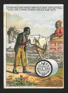 VICTORIAN TRADE CARD Clark's Mile-end Thread Blacks