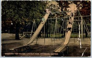 Pittsburg KS Postcard Shooting the Chutes Lincoln Park Playground Slides 1910s