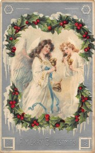 A merry Christmas Angels Bells Embossed Postcard