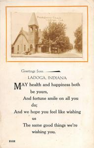 F35/ Ladoga Iowa RPPC Postcard 1915 Presbyterian Church